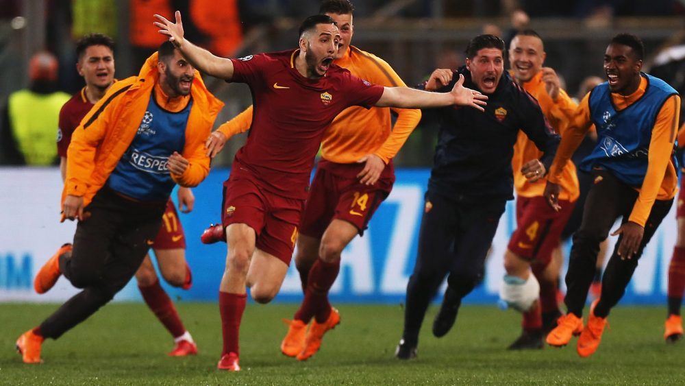 ROME, ITALY - APRIL 10:  Kostas Manolas of AS Roma celebrates after scoring the team's third goal during the UEFA Champions League quarter final second leg between AS Roma and FC Barcelona at Stadio Olimpico on April 10, 2018 in Rome, Italy.  (Photo by Paolo Bruno/Getty Images)